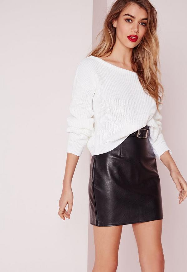 Petite Ophelita Off Shoulder Jumper White