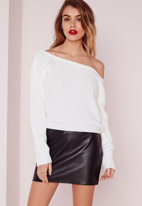 Petite Ophelita Off Shoulder Sweater White | Missguided