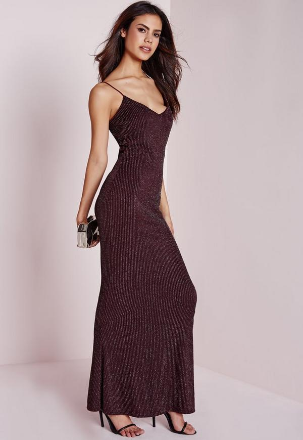 Petite Lurex Stripe Maxi Dress Burgundy