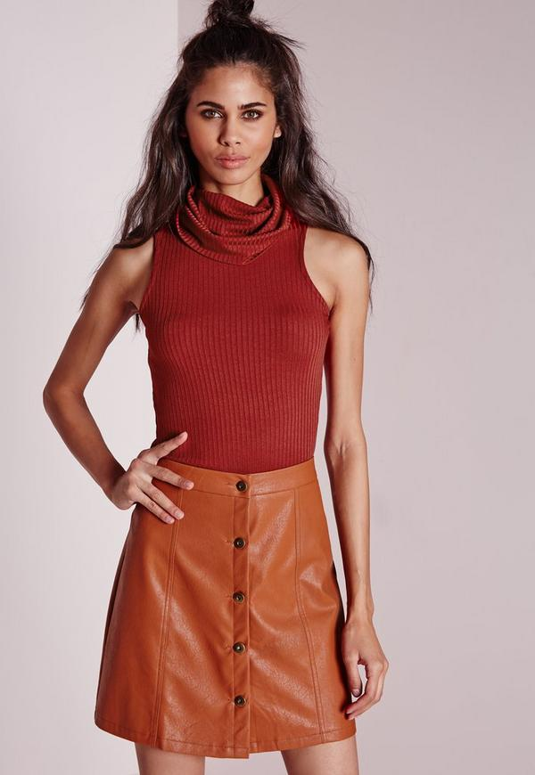 Petite Ribbed Cowl Neck Vest Rust
