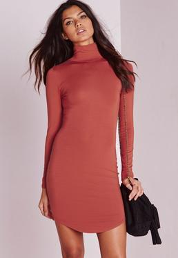 Petite Curve Hem Roll Neck Bodycon Dress Rust