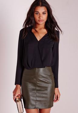 Petite Faux Leather Mini Skirt Khaki