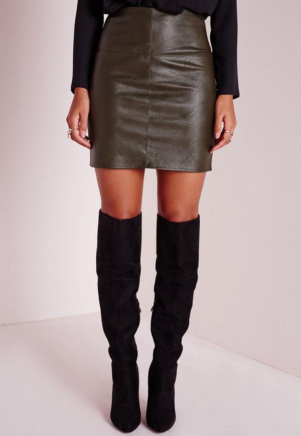Petite Faux Leather Mini Skirt Khaki   Missguided