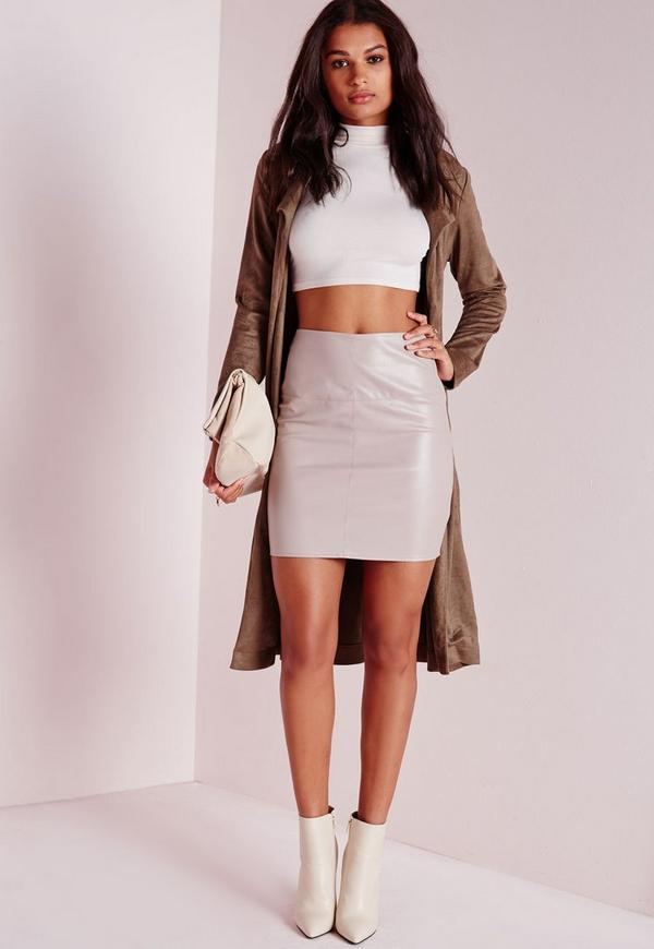 Petite Faux Leather Mini Skirt Grey | Missguided