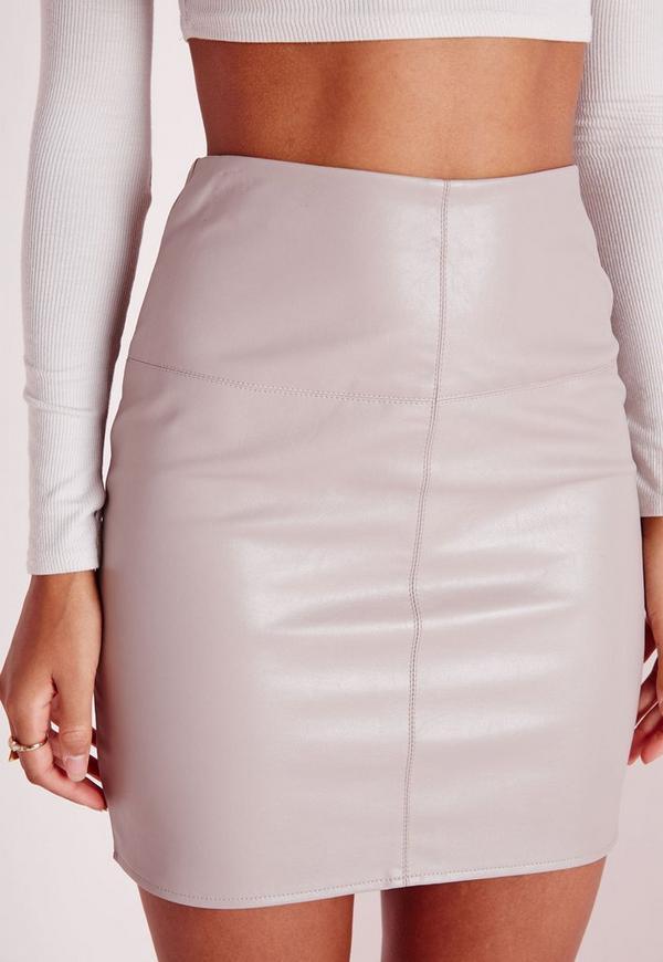 Petite Faux Leather Mini Skirt Grey - Petite Clothing - Clothing
