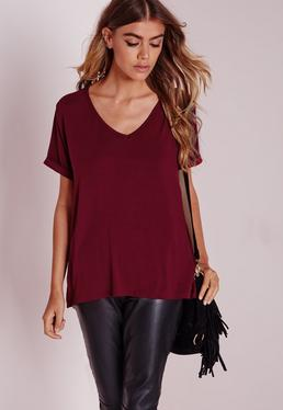 Petite Boyfriend V Neck T Shirt Burgundy