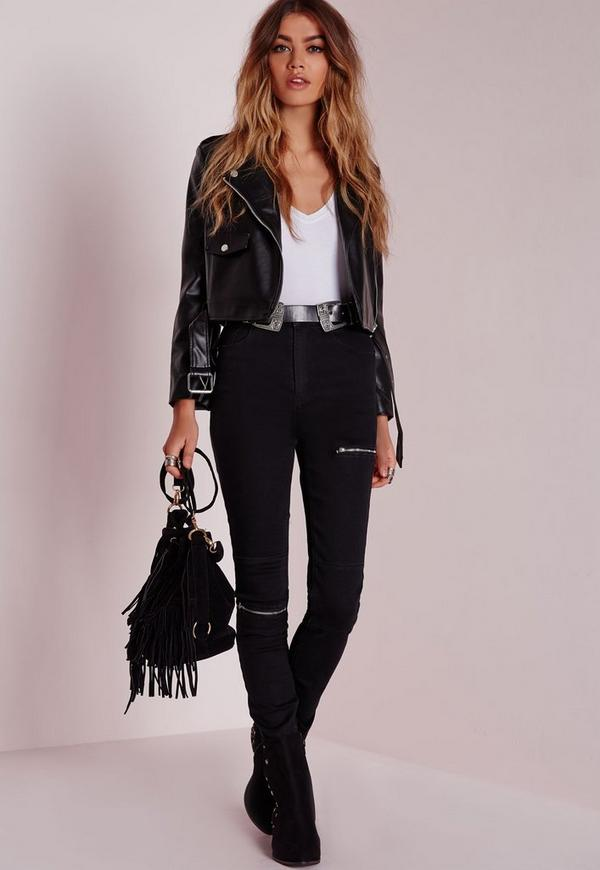 Petite Faux Leather Biker Jacket Black | Missguided