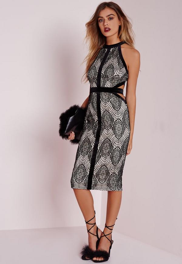 Petite Exclusive Velvet & Lace Cut Out Dress Black