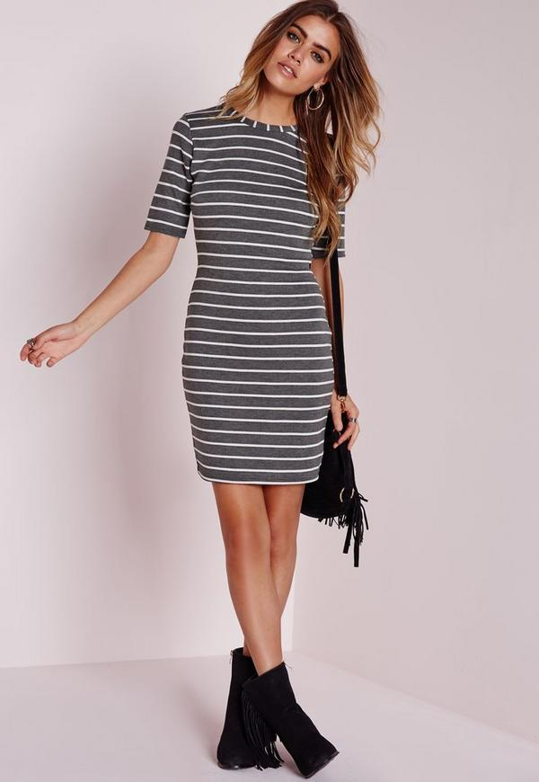 Petite Short Sleeve Knitted Stripe Bodycon Dress Grey