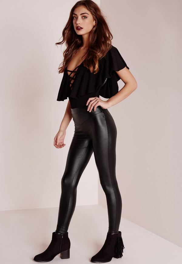 Wet look leggings petite