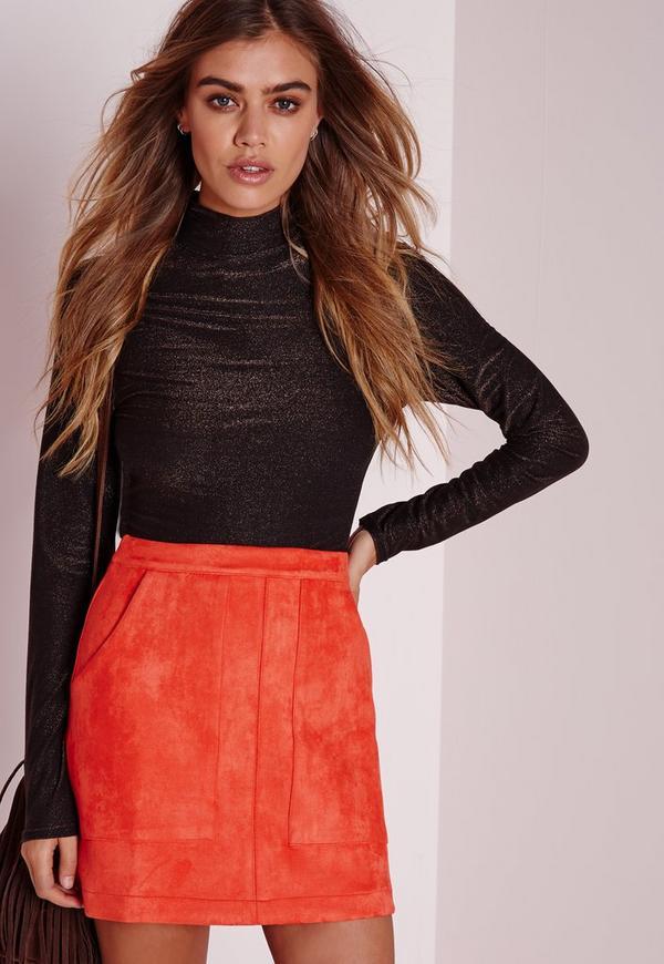 Petite Bonded Suede A Line Skirt Orange