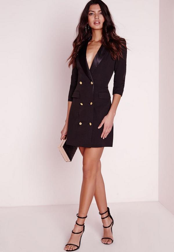 Petite Long Sleeve Tuxedo Dress Black
