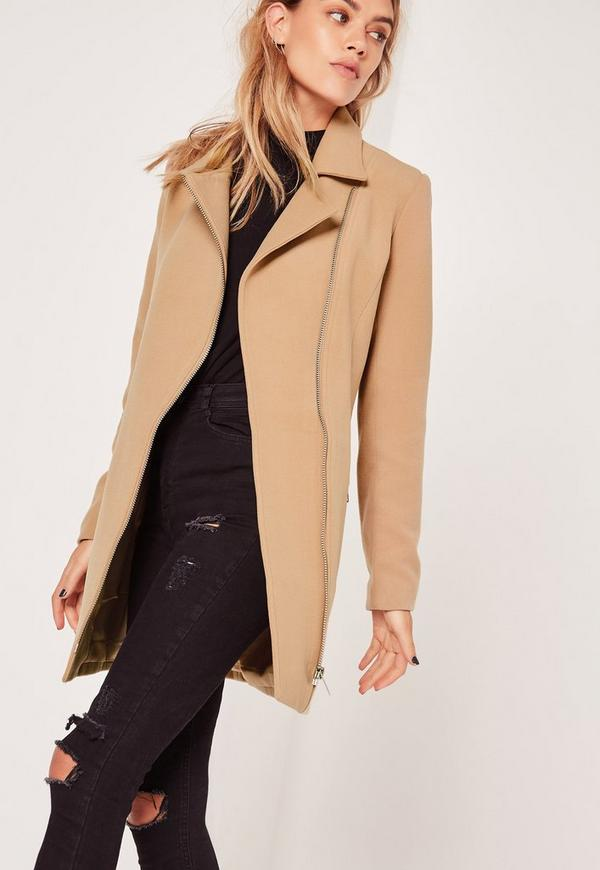 Petite Faux Wool Biker Coat Camel | Missguided