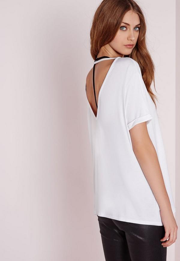 Petite Exclusive V Back T Shirt White Missguided