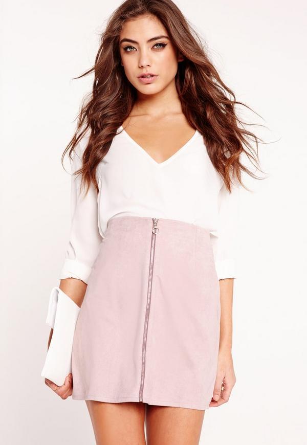 Petite Exclusive A-Line Mini Skirt Lilac Ash
