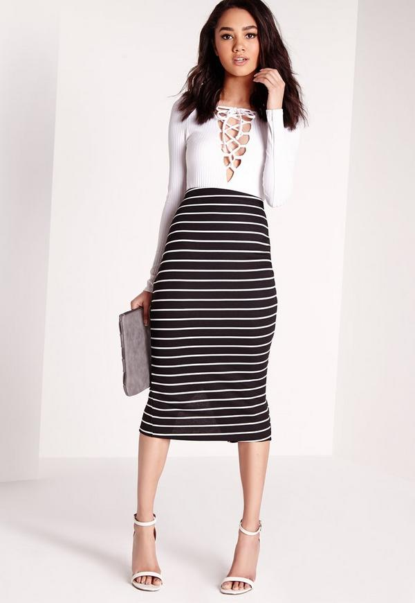 Petite Exclusive Stripe Longline Midi Skirt Black