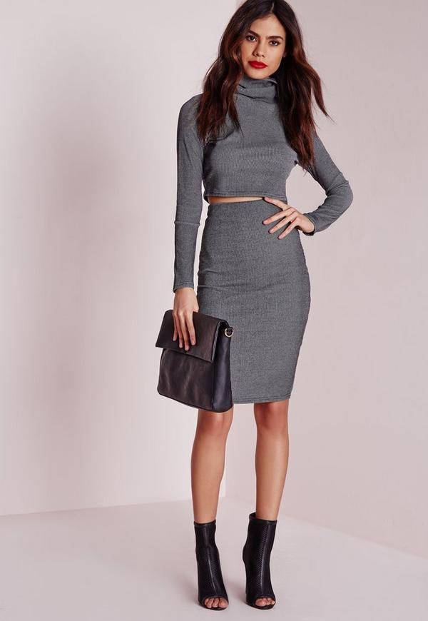 Petite Exclusive Ribbed Skirt Midi Grey