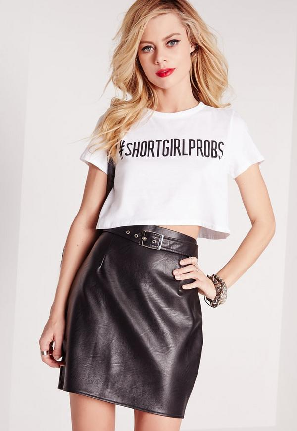 Petite Exclusive Slogan Crop Tee Short Girl White