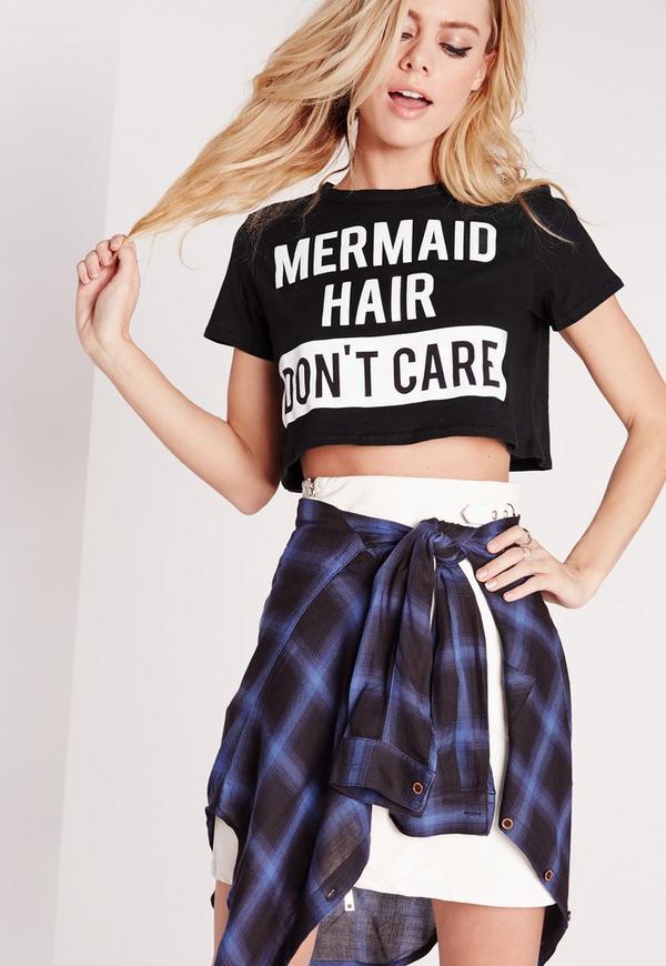 Petite Exclusive Slogan Crop Tee Mermaid Hair Black