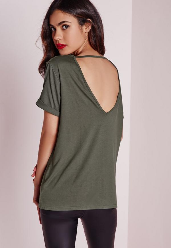 Petite Exclusive V Back T Shirt Khaki
