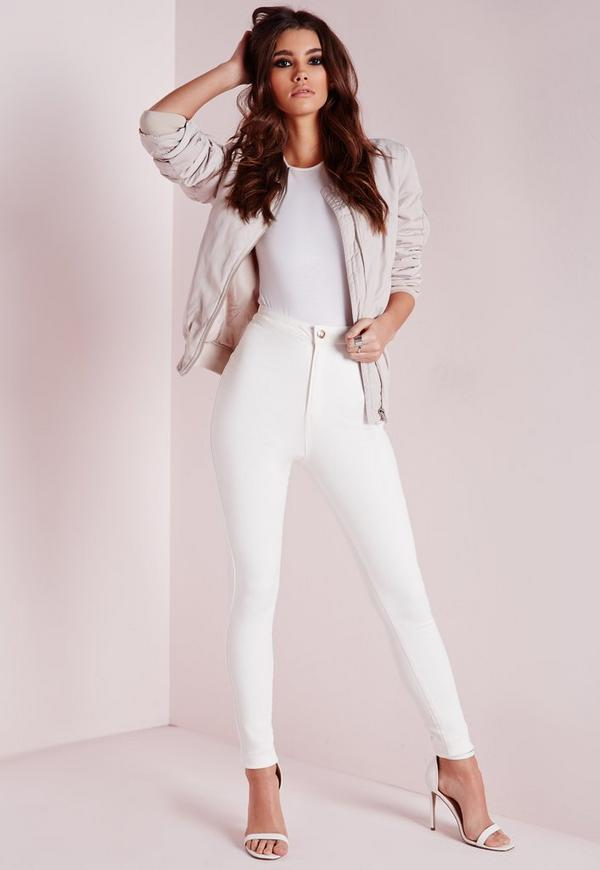 Petite Vice Highwaisted Superstretch Skinny Jeans White
