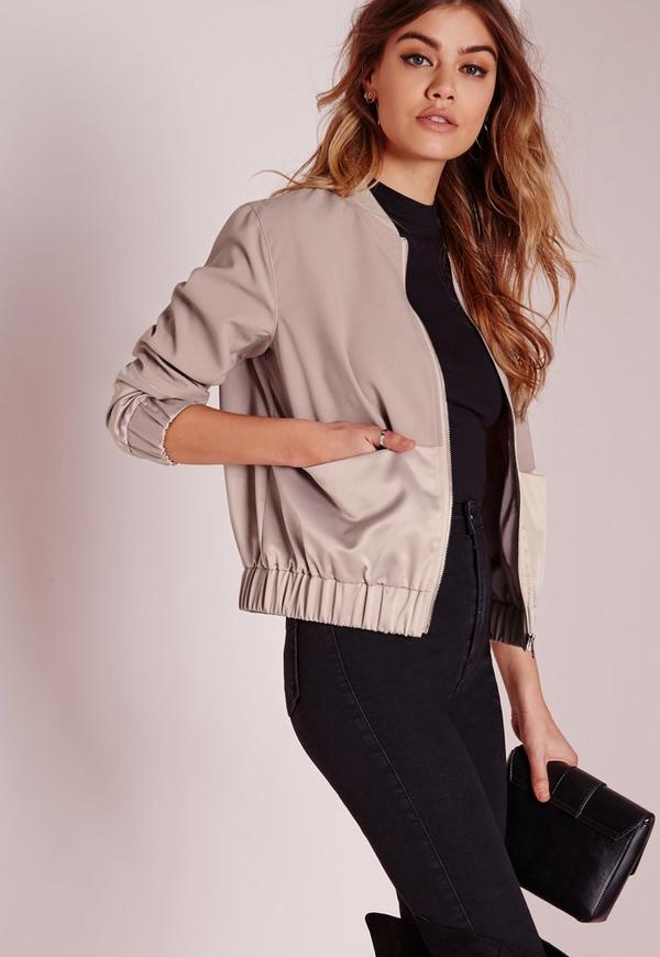 Petite Exclusive Satin Two Tone Bomber Jacket Mauve