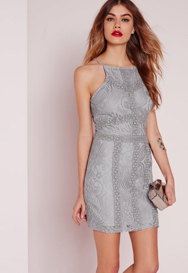 Petite Square Neck Bodycon Lace Dress Grey