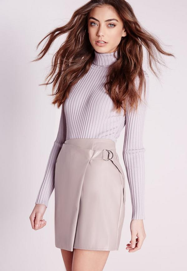 Petite Exclusive D Ring Faux Leather Wrap Mini Skirt Nude