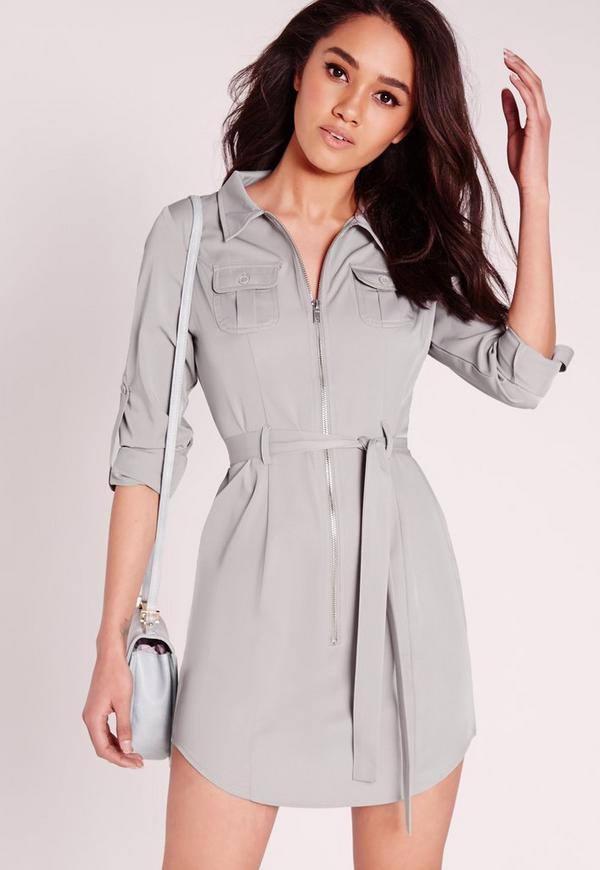 Petite Exclusive Zip Through Mini Shirt Dress Grey