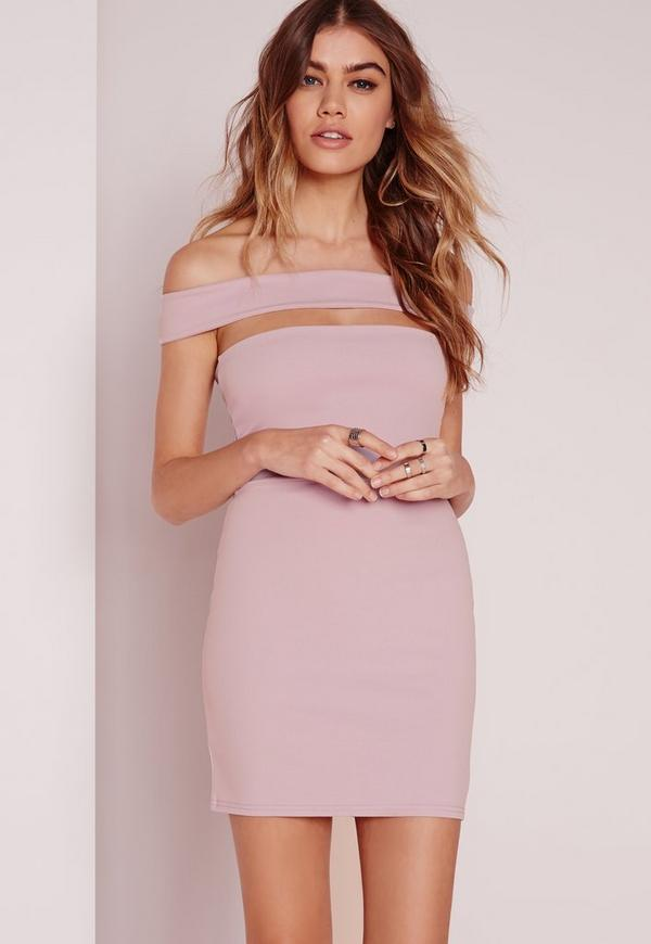 Petite Cut Out Panel Bardot Bodycon Dress Purple