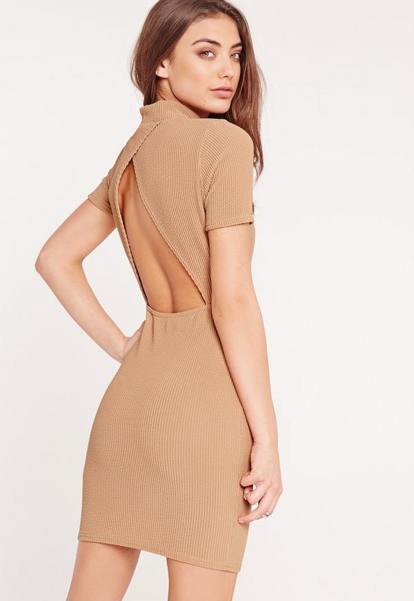 Petite Wrap Back Ribbed Bodycon Dress Camel