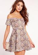 Petite Exclusive Bardot Jacquard Dress