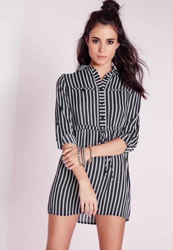 Petite Exclusive Mono Stripe Shirt Dress