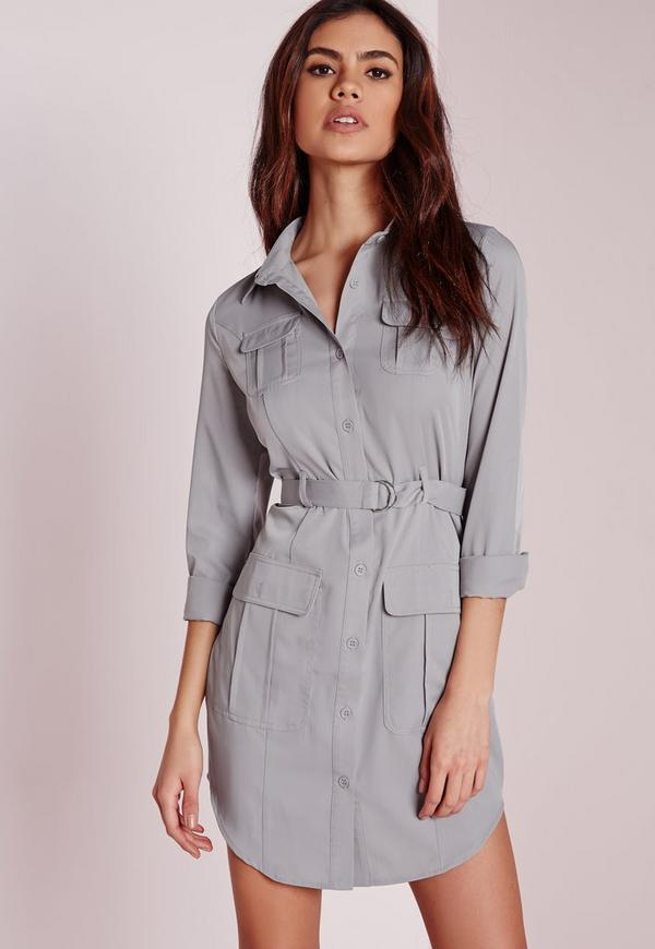 Petite Exclusive Belted Shirt Dress Grey
