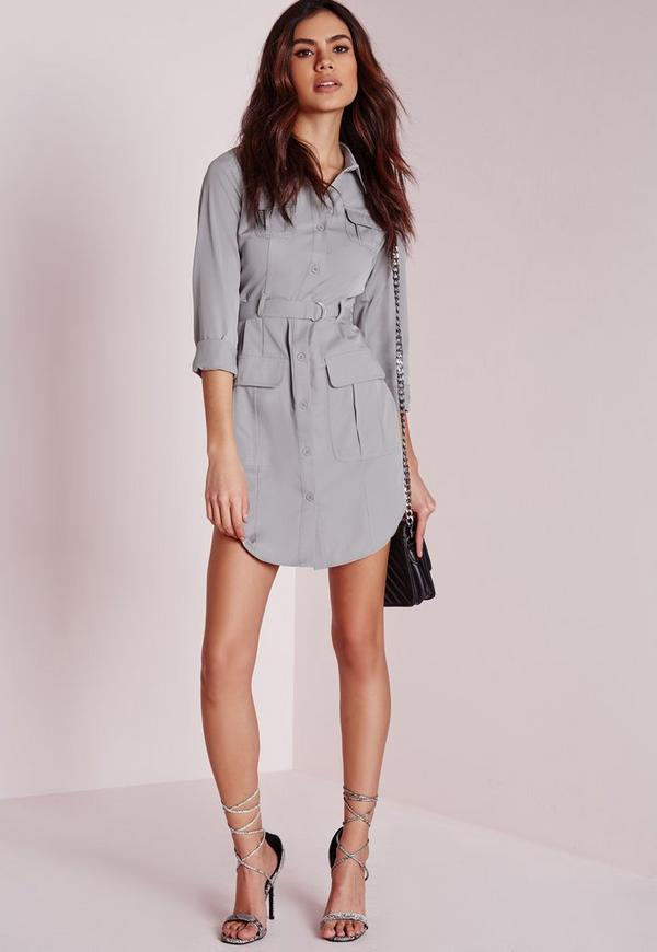 Petite Exclusive Belted Shirt Dress Grey - Petite - Petite Dresses ...