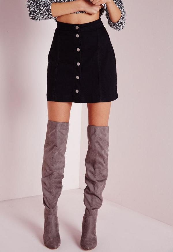 a line button through denim skirt black missguided
