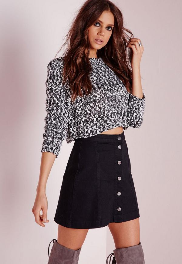 Petite a-line button through denim skirt black - Skirts - Petite ...