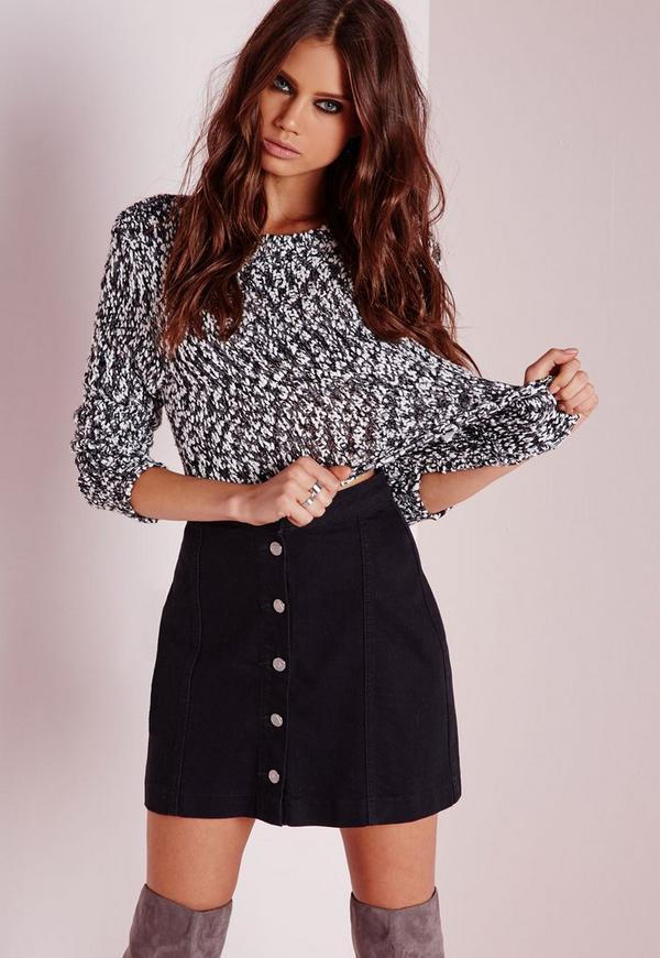 Petite a-line button through denim skirt black | Missguided