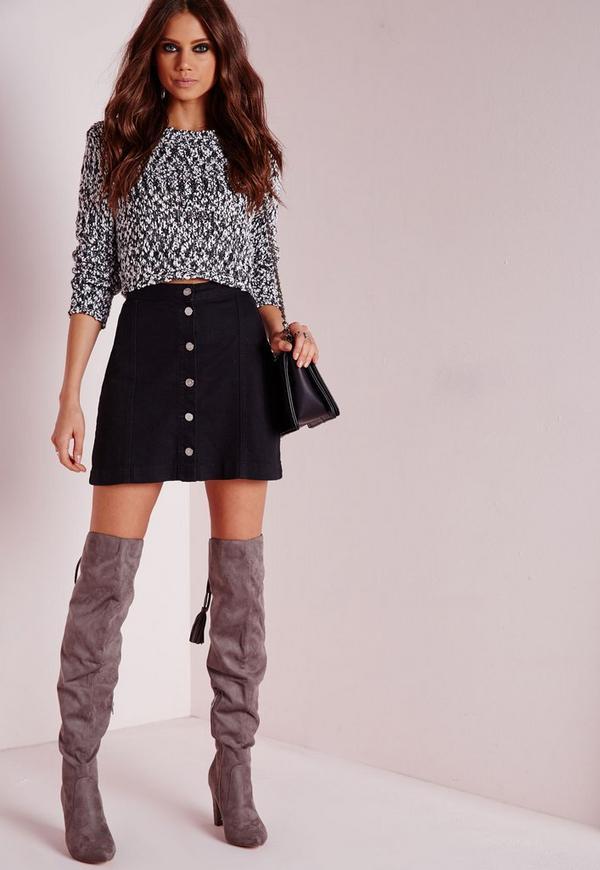 Petite a-line button through denim skirt black - Skirts - Petite ...