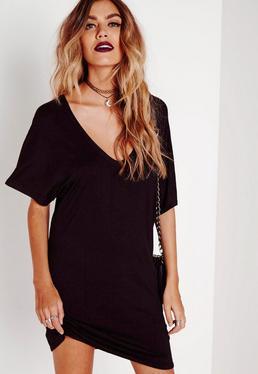 Czarna Sukienka T-shirt z Szerokim Dekoltem w Serek Dla Niskich Kobiet