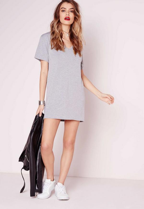 Petite 2 pack jersey t shirt dress black grey missguided for Dark grey shirt dress