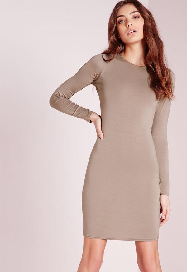 Petite Jersey Bodycon Mini Dress Brown