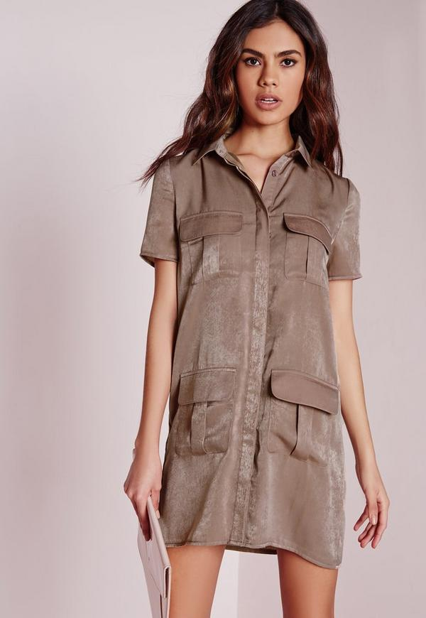 Petite Slinky Pocket Detail Shirt Dress