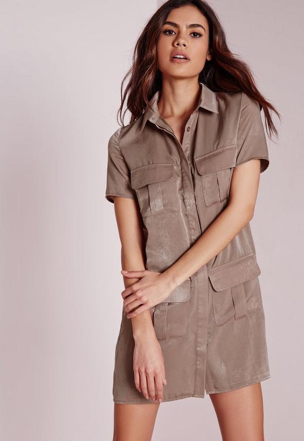 Petite Slinky Pocket Detail Shirt Dress
