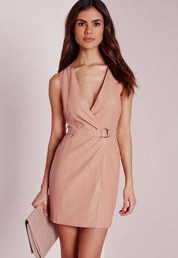 Petite Exclusive Plunge Wrap Shift Dress Nude