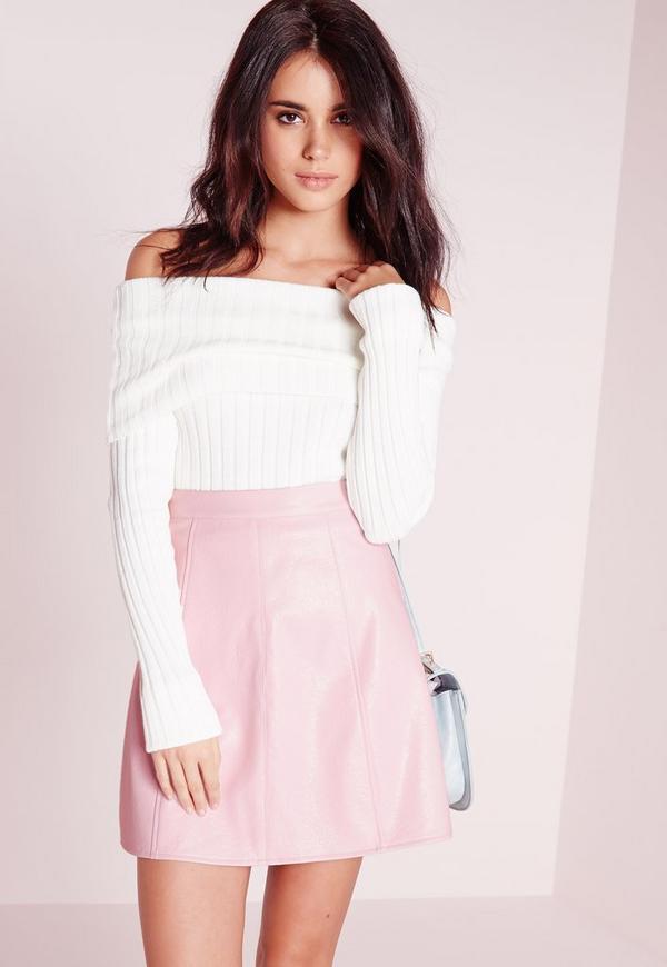 Petite Faux Leather A Line Mini Skirt Dusky Pink