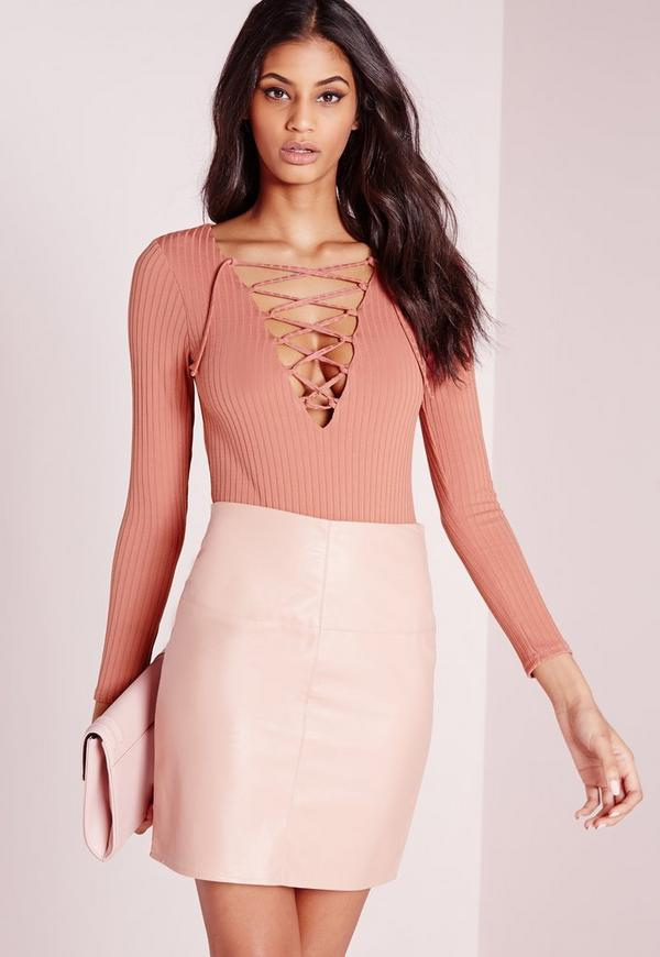 Petite Exclusive Lace Up Bodysuit Pink