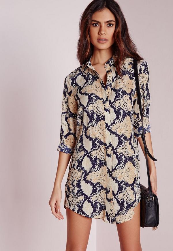 Petite Snake Print Collarless Shirt Dress Navy - Tall And Petite ...