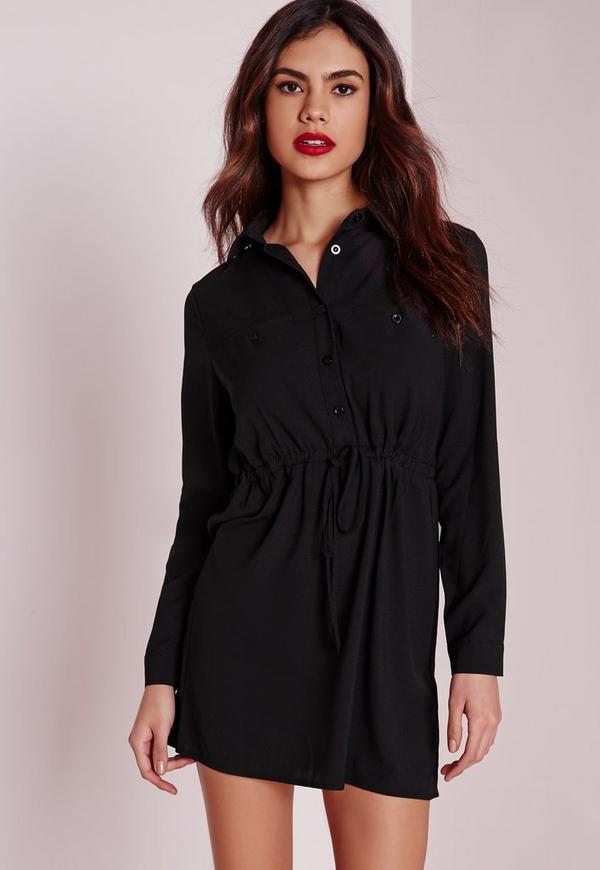 Petite Drawstring Waist Shirt Dress Black