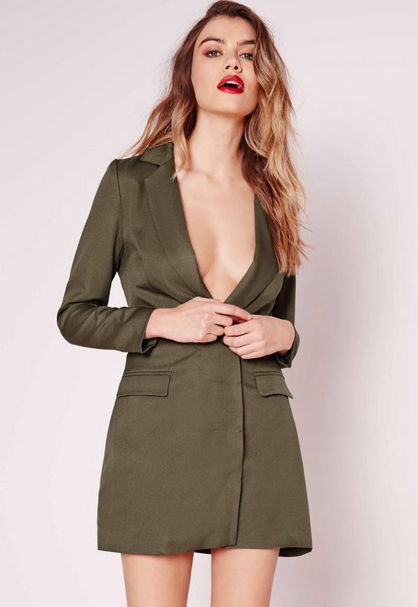 Petite Exclusive Long Sleeve Blazer Dress Khaki
